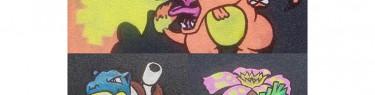 グリップテープに描いたポケモンたち。