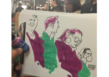 電車の中でのお絵描き。