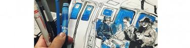 電車の中でスケッチ。