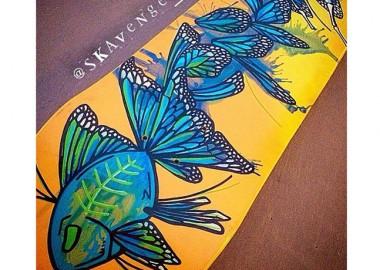 魚の中に蝶が。