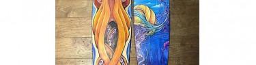 ミステリアスに描かれたタコとクラゲ。